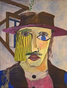 Bildbeschreibung in leichter Sprache: Zu diesem Kunst-Werk gibt es ein Tastobjekt. Das Tastobjekt darf berührt werden. Das Bild hat der Künstler Marko Berg im Jahr 2006 gemalt. Dafür hat er hauptsächlich rote, blaue und gelbe Farbe benutzt. Auf dem Bild sehen Sie das Gesicht und den Oberkörper eines Menschen. Ein solches Bild nennt man Portrait. Der Mensch hat einen Hut mit einer breiten Krempe auf. Er trägt ein Hemd mit Knöpfen und darüber eine dunkle Weste. Im Hintergrund zeigt das Bild ein Fenster und dunkle Balken. Und am oberen Bild-Rand können Sie einen kleinen Zweig mit grünen Blättern entdecken. Der Mensch schaut uns mit offenen Augen an. Aber etwas an dem Gesicht ist anders als gewöhnlich. Sind es die 3 Augen oder der leere und starre Blick? Die rechte Seite des Gesichts ist bedeckt mit langen blonden Haaren. Die Lippen sind voll und leuchten rot. Aber über der Oberlippe wächst ein dunkler Schnurrbart. Das Gesicht hat also Merkmale von einem Mann und von einer Frau. Deshalb weiß man nicht: Ist der Mensch ein Mann oder eine Frau?