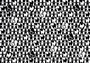 Bildbeschreibung: Papier gerahmt hinter Glas ; Piktogramme in Würfelform - Abbildungen: weiblich, männlich, Rollstuhlnutzer, Kinderwagen, schwarz, weiß, geordnet, ungeordnet, in einer Formation und doch unterschiedlich, gleich oder ungleich?