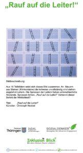 """Bildbeschreibung: Papier gerahmt hinter Glas ; Aus 16 Teilbildern setzt sich dieses Bild zusammen. An Mauern aus Steinen (Klinkersteine) die teilweise unvollständig sind stehen angelehnt Leitern. Die Sprossen der Leitern haben unterschiedliche Abstände. Sprossen fehlen. """"Rauf auf die Leiter!"""" Verkennt dieser Befehl die Wirklichkeit?"""